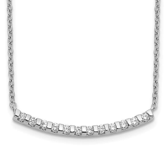 14k White Gold Diamond Curved Bar 18 inch Necklace PM3732-025-WA
