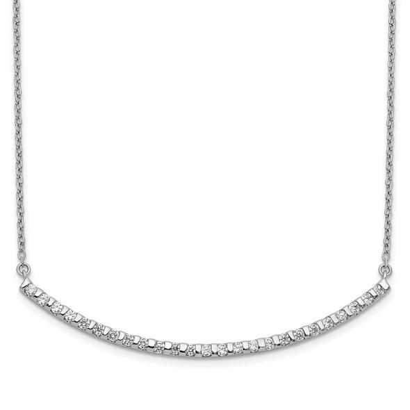 14k White Gold Diamond Curved Bar 18 inch Necklace PM3732-050-WA