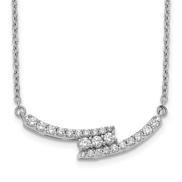 14k White Gold Diamond Curved Bar 18 inch Necklace PM3737-033-WA