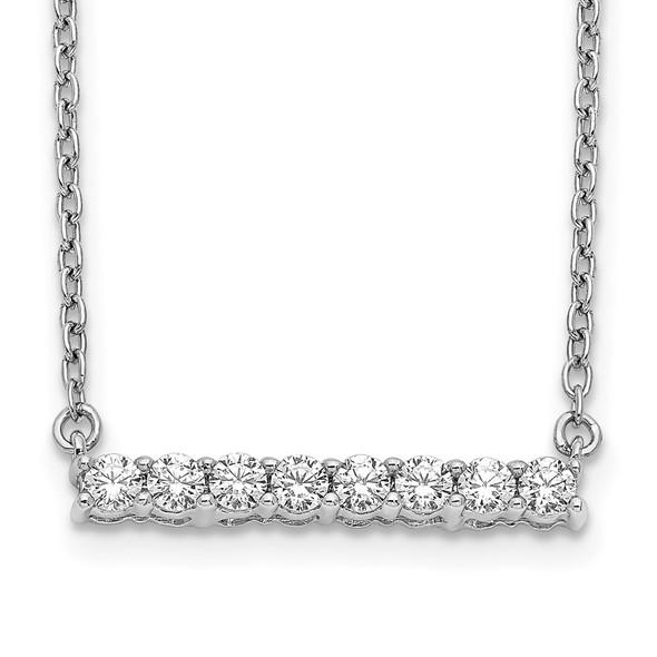 14k White Gold Diamond Bar 18 inch Necklace PM3738-033-WA