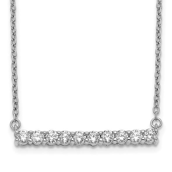 14k White Gold Diamond Bar 18 inch Necklace PM3738-050-WA