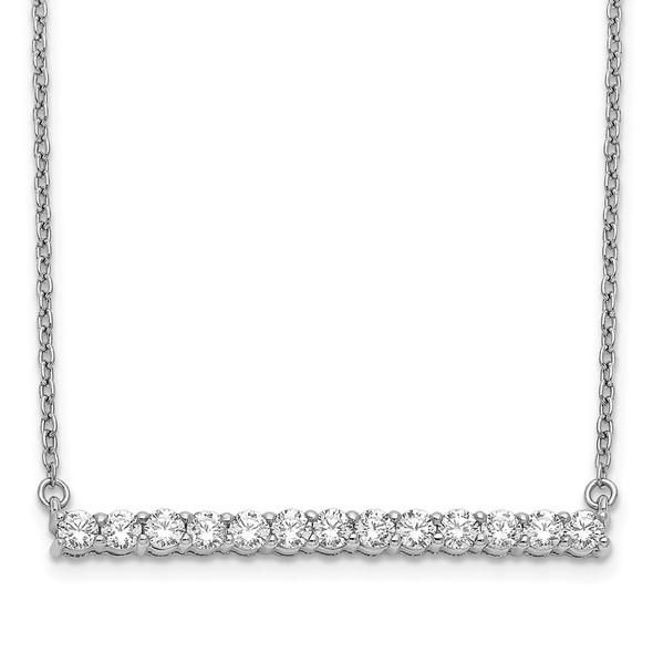 14k White Gold Diamond Bar 18 inch Necklace PM3738-066-WA