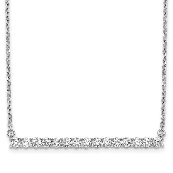 14k White Gold Diamond Bar 18 inch Necklace PM3738-075-WA