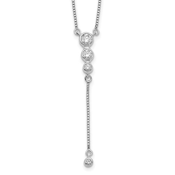14k White Gold Diamond 3-stone w/ Dangle 18 inch Necklace