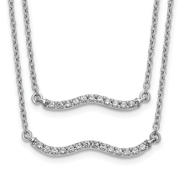 14k White Gold Diamond Double Strand 18 inch Necklace PM3749-025-WA