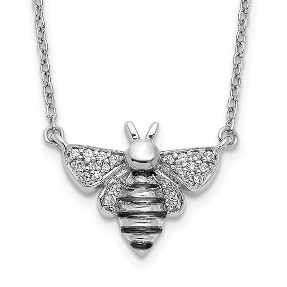 14k White Gold Diamond Bee 18 inch Necklace PM3757-010-WA