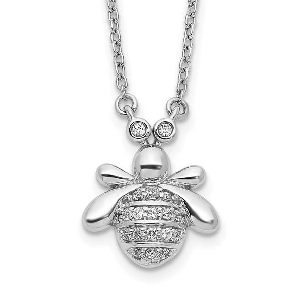 14k White Gold Diamond Bee 18 inch Necklace PM3760-010-WA