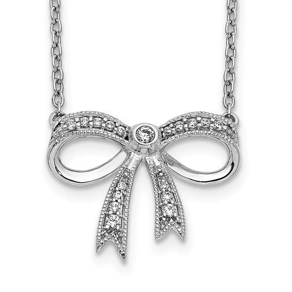14k White Gold Diamond Bow 18 inch Necklace