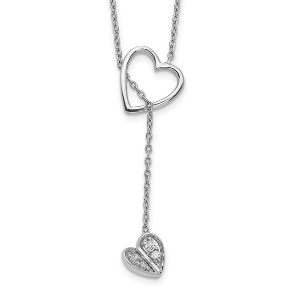 14k White Gold Diamond Heart w/ Dangle 18 inch Necklace