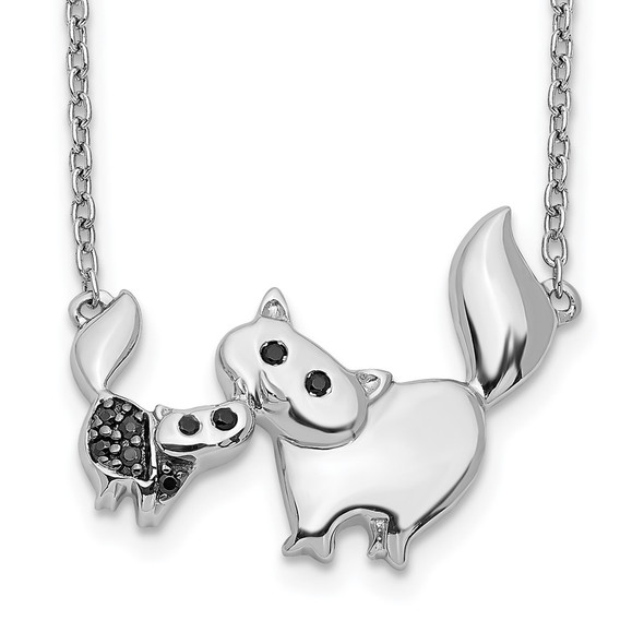 14k White Gold Black Diamond Mother and Baby Cat 18 inch Necklace PM3772-BK-004