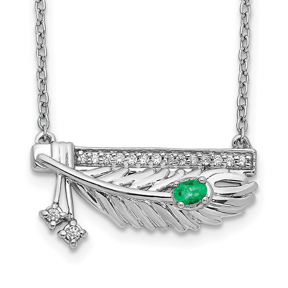 14k White Gold Diamond Bar w/Emerald Feather 18 inch Necklace