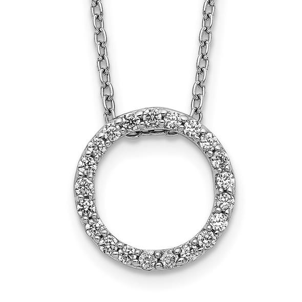 14k White Gold Diamond Circle 18 inch Necklace PM3781-025-WA