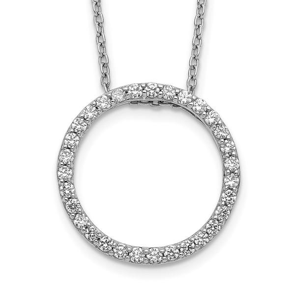14k White Gold Diamond Circle 18 inch Necklace PM3781-050-WA