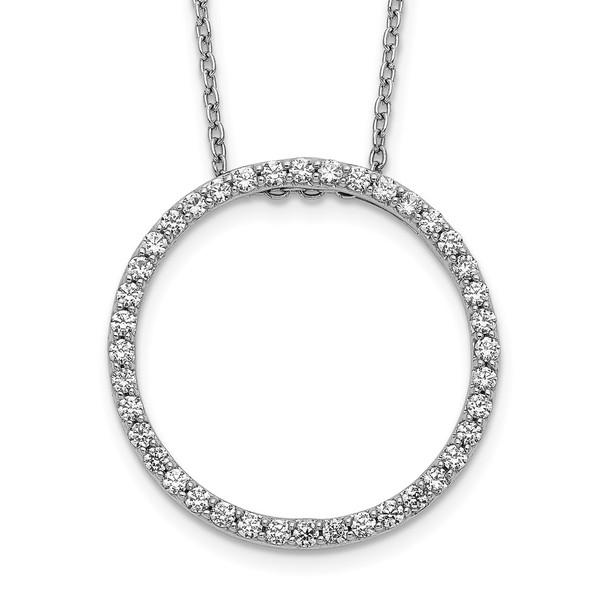 14k White Gold Diamond Circle 18 inch Necklace PM3781-060-WA