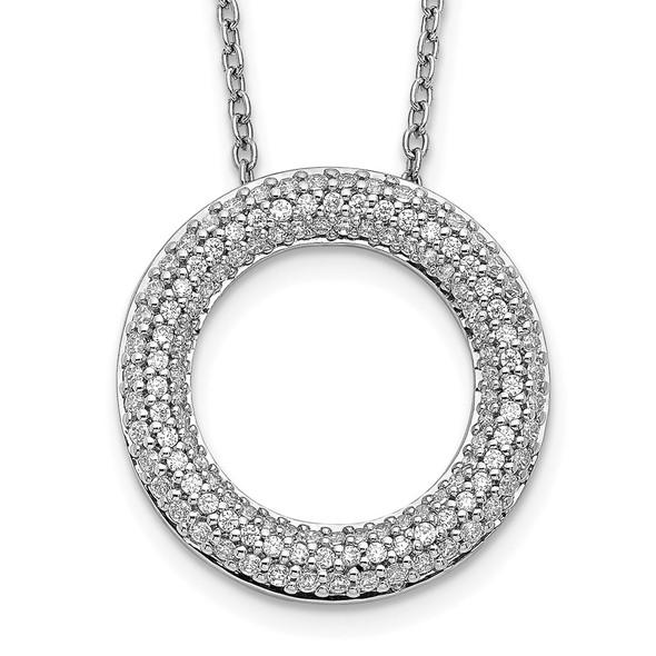 14k White Gold Diamond Circle 18 inch Necklace PM3789-060-WA