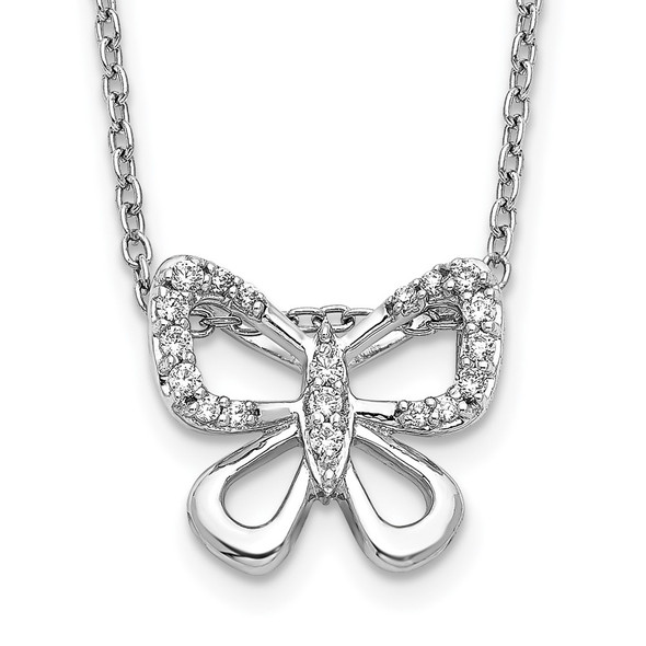 14k White Gold Diamond Butterfly 18 inch Necklace