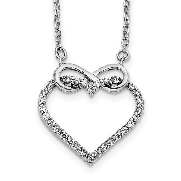 14k White Gold Diamond Heart Infinity 18 inch Necklace