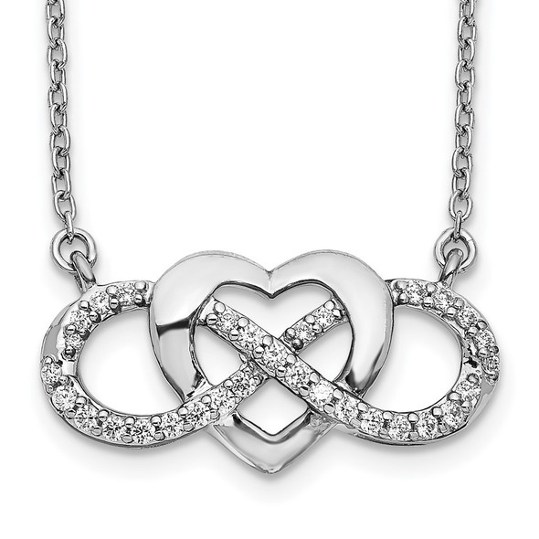 14k White Gold Diamond Infinity Heart 18 inch Necklace