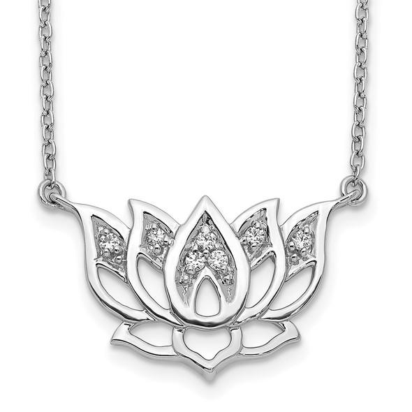 14k White Gold Diamond Lotus Flower 18 inch Necklace