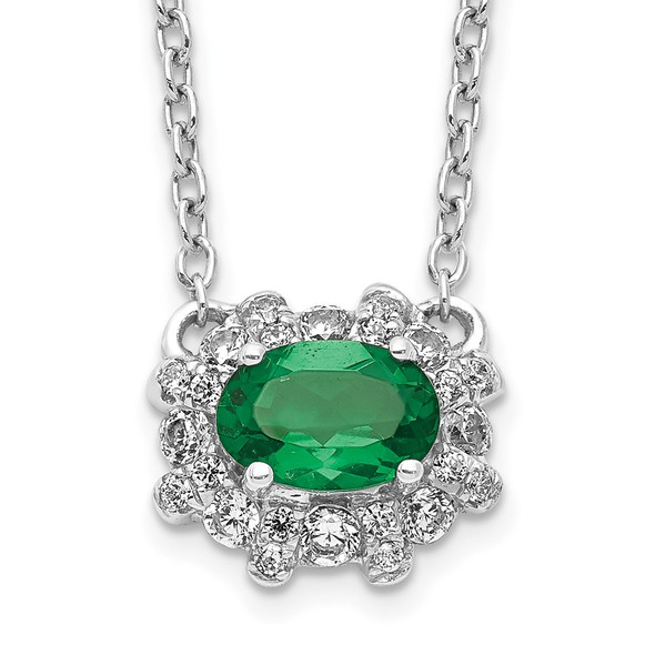 14k White Gold Diamond and Oval Emerald 18 inch Necklace PM4025-EM-020-WA-18