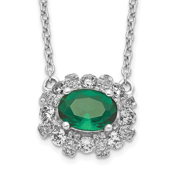 14k White Gold Diamond and Oval Emerald 18 inch Necklace PM4025-EM-045-WA-18