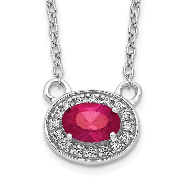 14k White Gold Diamond and Oval Ruby 18 inch Necklace PM4026-RU-008-WA-18
