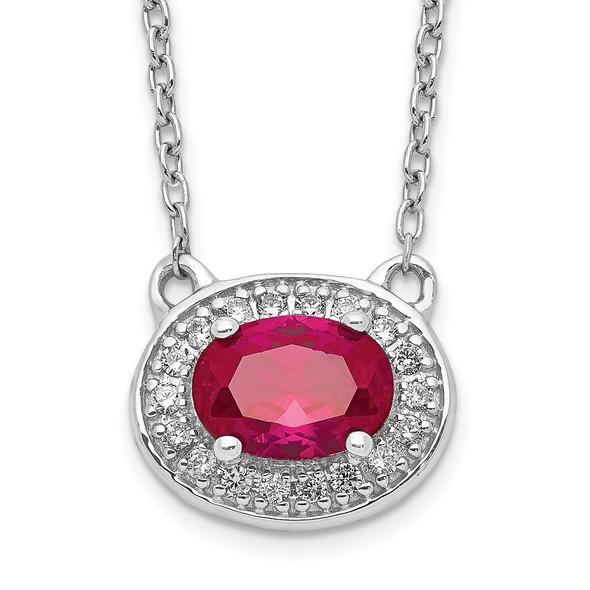 14k White Gold Diamond and Oval Ruby 18 inch Necklace PM4026-RU-010-WA-18