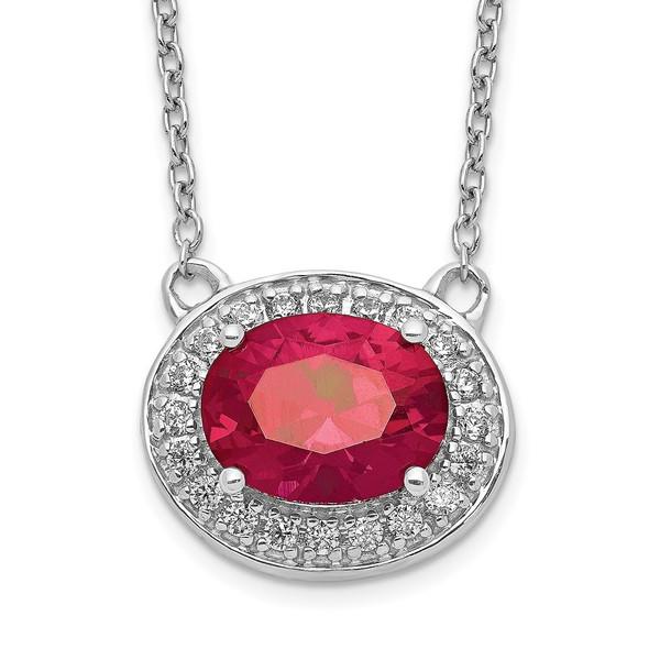 14k White Gold Diamond and Oval Ruby 18 inch Necklace PM4026-RU-020-WA-18