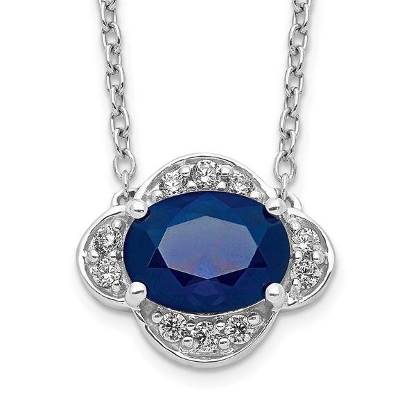 14k White Gold Diamond and Oval Sapphire 18 inch Necklace PM4027-SA-013-WA-18