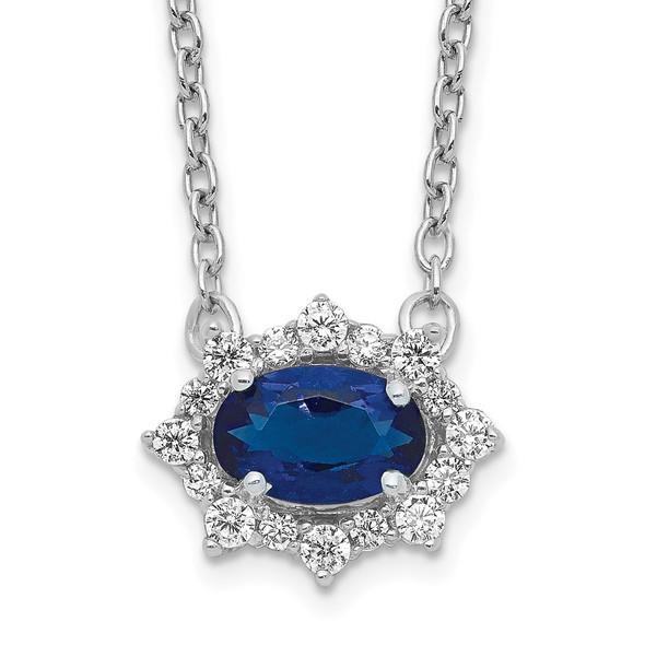14k White Gold Diamond and Oval Sapphire 18 inch Necklace PM4028-SA-014-WA-18