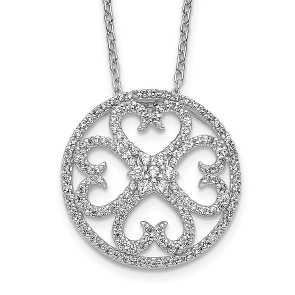 14k White Gold Diamond Vintage-Style Hearts Pendant Necklace