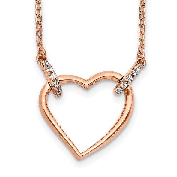 14k Rose Gold Diamond Heart 18 inch Necklace PM4366-005-RA