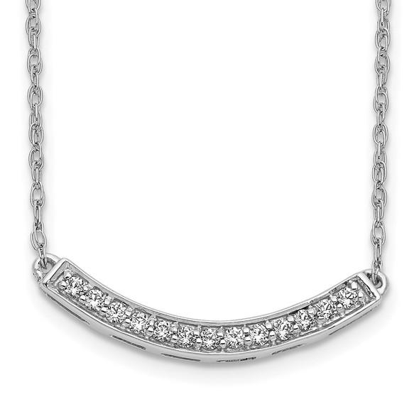 14k White Gold Diamond Curved Bar 18 inch Necklace PM4679-016-WA