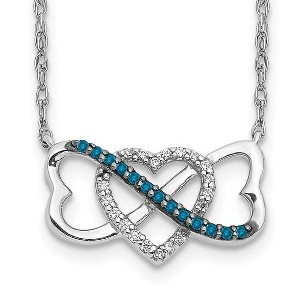 14k White Gold w/ Blue and White Diamond Triple Heart Pendant Necklace