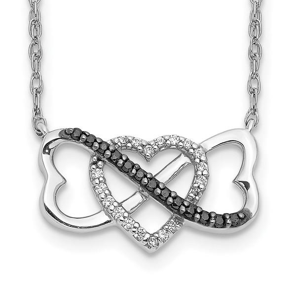 14k White Gold w/ Black and White Diamond Triple Heart Pendant Necklace
