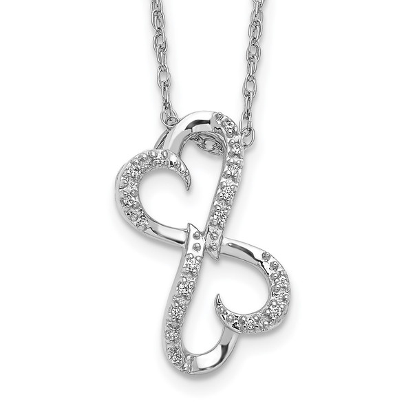 14k White Gold Diamond Heart 18 inch Necklace PM4681-005-WA