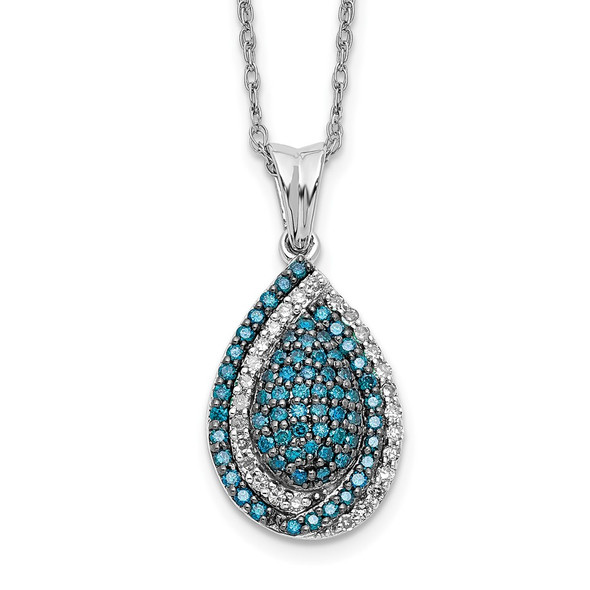 14k White Gold Blue and White Diamond Teardrop 18 in. Necklace