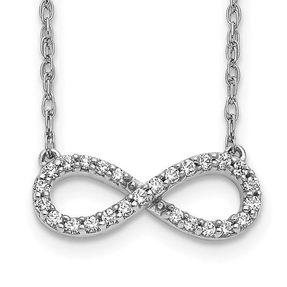 14k White Gold Polished Diamond Infinity Symbol 18 inch Necklace