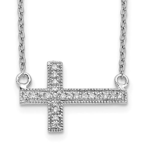 14k White Gold Diamond Sideways Cross 18in Necklace PM4690-010-WA