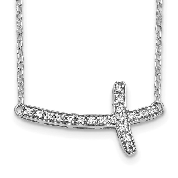 14k White Gold Diamond Sideways Cross 18in Necklace PM4691-010-WA
