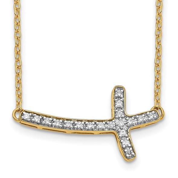 14k Yellow Gold Diamond Sideways Cross 18in Necklace PM4691-010-YA