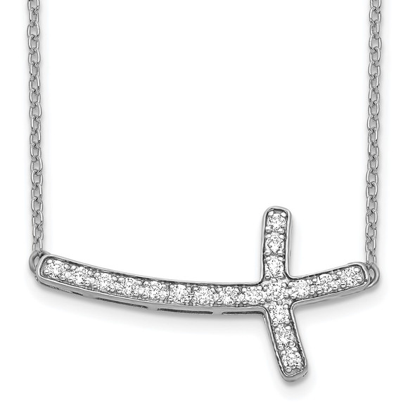 14k White Gold Diamond Sideways Cross 18in Necklace PM4691-025-WA