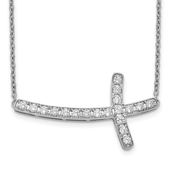 14k White Gold Diamond Sideways Cross 18in Necklace PM4691-050-WA