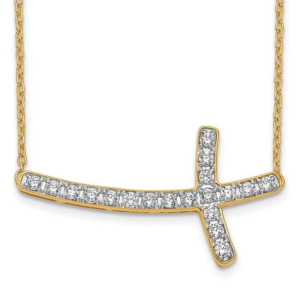 14k Yellow Gold Diamond Sideways Cross 18in Necklace PM4691-050-YA