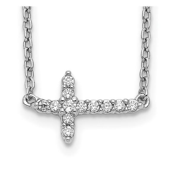 14k White Gold Diamond Sideways Cross 18in Necklace PM4692-010-WA