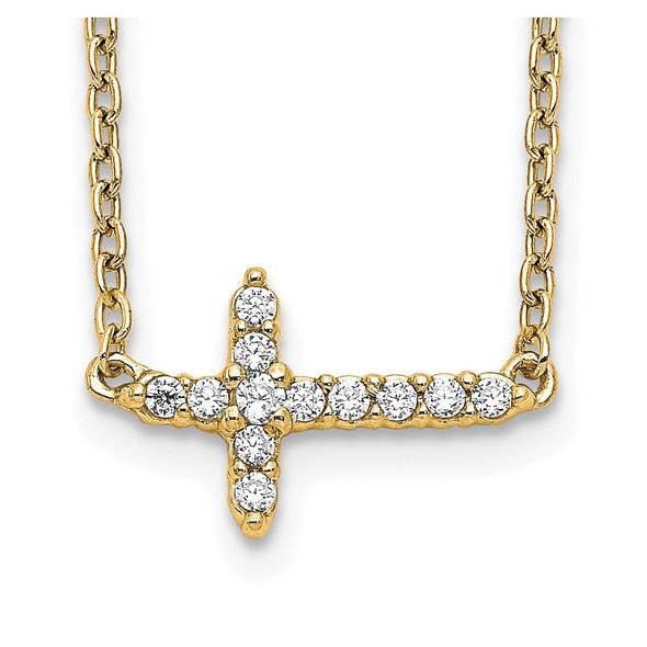 14k Yellow Gold Diamond Sideways Cross 18in Necklace PM4692-010-YA
