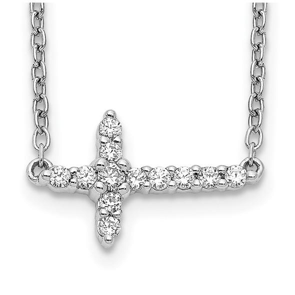 14k White Gold Diamond Sideways Cross 18in Necklace PM4692-016-WA