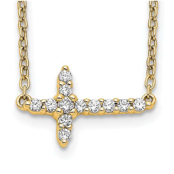 14k Yellow Gold Diamond Sideways Cross 18in Necklace PM4692-016-YA