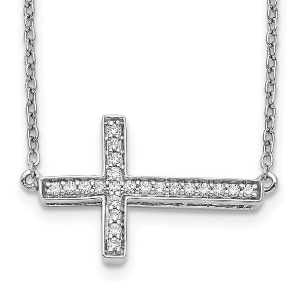 14k White Gold Diamond Sideways Cross 18in Necklace PM4695-016-WA