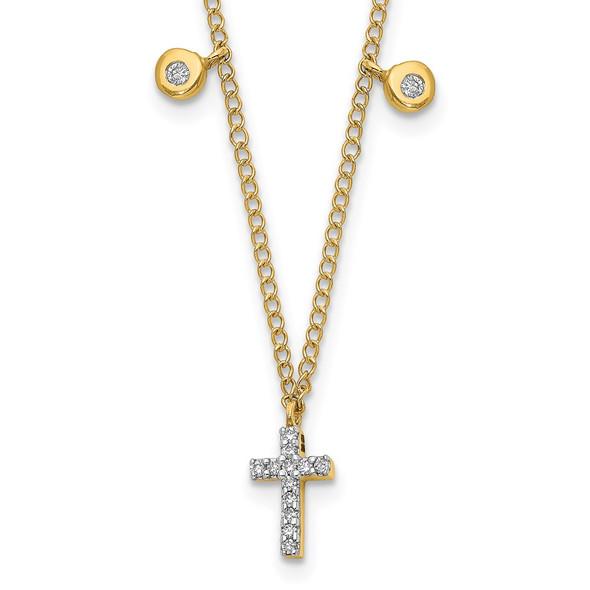 14k Yellow Gold Diamond Cross 18 inch Necklace PM4698-005-YA
